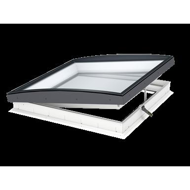 VELUX Flachdach-Fenster KONVEX-GLAS CVU, elektrisch zu öffnende Ausführung mit VSG innen