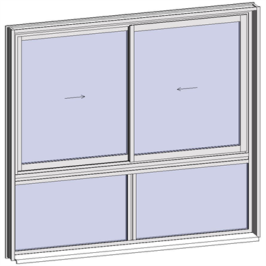 sliding window 2 rails 2 leaves with sublight