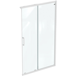 connect 2 corner / entry 120cm , door without handle,  white frame and clear glass