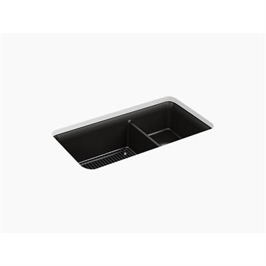 "cairn® 33-1/2"" x 18-5/16"" x 10-1/8"" neoroc® under-mount large/medium double-bowl kitchen sink with sink rack"