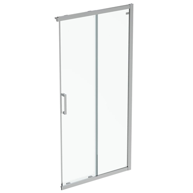 connect 2  unhand door 100 clear glass bright silver finish