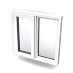 Intakt inward opening window 2+1 glass 2-light with mullion Sidehung or Kippdreh with fixed leaf