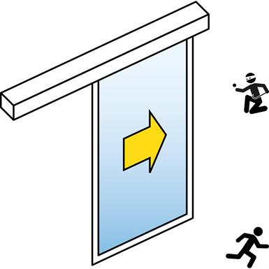 automatic sliding door (burglar-resistant rc2/rc3) - single - no side panels - on wall sl/psxp-rc
