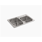 """verse™ 33"""" x 22"""" x 9-1/4"""" top-/under-mount large/medium double-bowl kitchen sink with 4 faucet holes"""