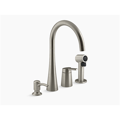koi™ kitchen faucet with single handle, sidespray and soap/lotion dispenser