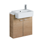 concept cube 50cm short projection semi-countertop washbasin, glazed back 1 lh taphole