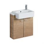 concept cube 50cm short projection semi-countertop washbasin, glazed back 1 lh taphole