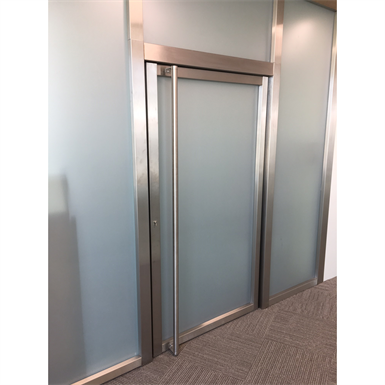 steel single fire door - double action with transom and sidelight