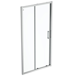 connect 2 slider door 105 clear glass bright silver finish