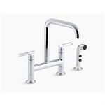 """k-7548 purist® two-hole deck-mount bridge kitchen sink faucet with 8-3/8"""" spout and matching finish sidespray"""