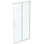 connect 2 corner / entry 100cm , door without handle,  white frame and clear glass