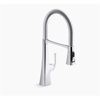 "graze® single-handle semi-professional kitchen sink faucet with 21-9/16"" spout"