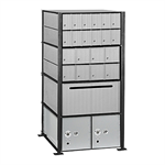 2200 Series Aluminum Mailboxes-Rack Ladder System-4 Unit High Wall Installation