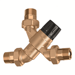 Adjustable thermostatic mixing valve with knob, complete with check valves and strainers at the inlets DN 15