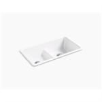 "iron/tones® 33"" x 18-3/4"" x 9-5/8"" smart divide® top-mount/undermount double-equal kitchen sink"