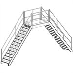 Fixed Aluminum Industrial Crossover Stairway