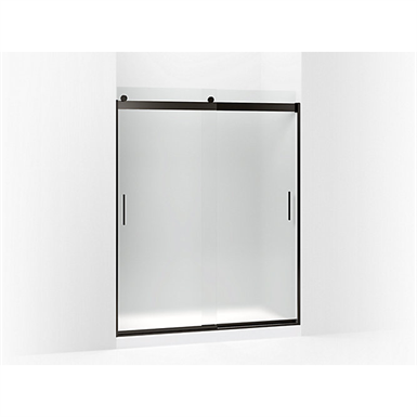 """levity® sliding shower door, 74"""" h x 56-5/8 - 59-5/8"""" w, with 1/4"""" thick frosted glass and blade handles"""