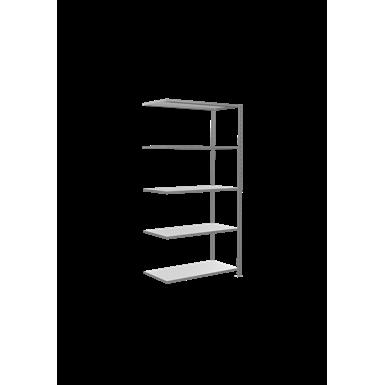 plug-in shelving system, extension shelving, multiplus150, 2000 x 1000 x 500 mm, 5 shelves, cross brace, galvanized