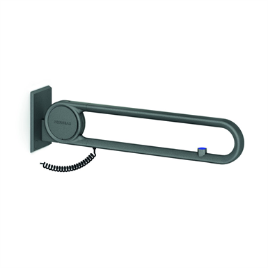 Cavere Suspendable lift-up support vario, with E-Button, L = 600, with base plate, flushing closed circuit NO rosette connection