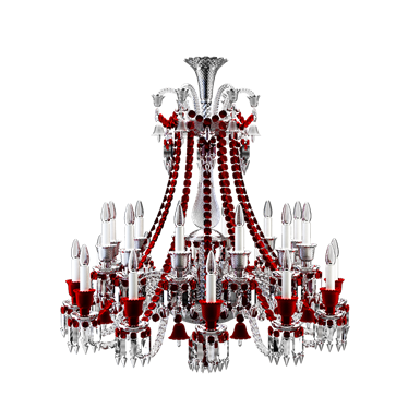 zenith clear and red chandelier 24l
