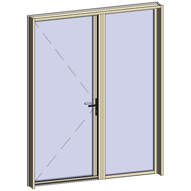 door window opening inside leaf with lock with adjacent fixed