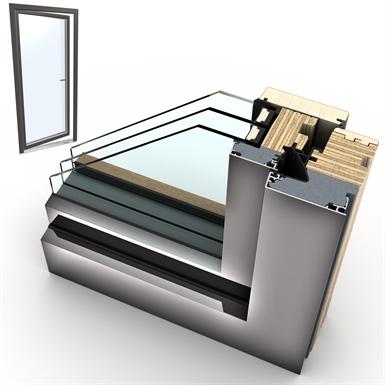 windowdoor single wood-alu internorm hf410 1t