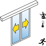 automatic sliding door (energy-efficiency rc2/rc3) - bi-parting - without side panels - on wall - sl/pst-rc