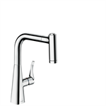Metris Single lever kitchen mixer 220 with pull-out spray 14834000