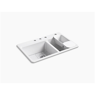 """riverby® 33"""" x 22"""" x 9-5/8"""" top-mount large/medium double-bowl kitchen sink with accessories and 4 faucet holes"""