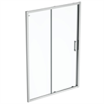 connect 2 slider door 140 clear glass bright silver finish