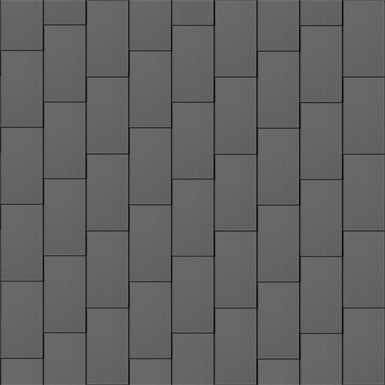 flat-lock tile facade (500 mm x 1000 mm, vertical, prepatina graphite-grey)