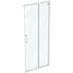 connect 2 corner / entry 90cm , door without handle,  white frame and clear glass