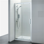 synergy 1400mm slider door, idealclean clear glass, bright silver finish