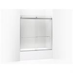 """levity® sliding bath door, 62"""" h x 56-5/8"""" - 59-5/8"""" w, with 1/4"""" thick frosted glass and towel bars"""