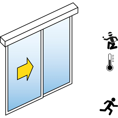 automatic sliding door  (energy-efficiency rc2/rc3) - single - with side panels - in wall - sl/pst-rc
