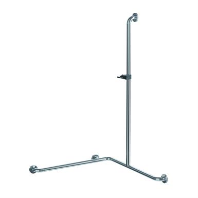 Inox Care Main courante de maintien 750x750x1200 avec support de douchette droite