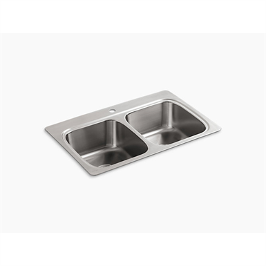 """verse™ 33"""" x 22"""" x 9-1/4"""" top-mount double-equal bowl kitchen sink with single faucet hole"""