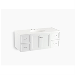 """damask® 48"""" wall-hung bathroom vanity cabinet with 2 doors and 4 drawers"""