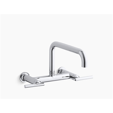 """Purist®two-hole wall-mount bridge kitchen sink faucet with 13-7/8"""" spout"""
