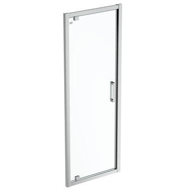 connect 2 pivot door  75 clear glass bright silver finish