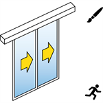automatic sliding door (standard) - two leaf telescopic - no side panels - on wall - sl/psxp