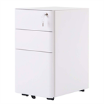 3 Drawer File Cabinet with Lock, Metal White
