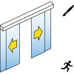 automatische schiebetür (ganzglas) - 2-flüglig - mit seitenteil - sturzmontage - sl/psa