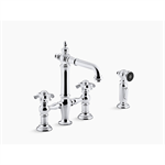 artifacts® deck-mount bridge bar sink faucet with prong handles and sidespray