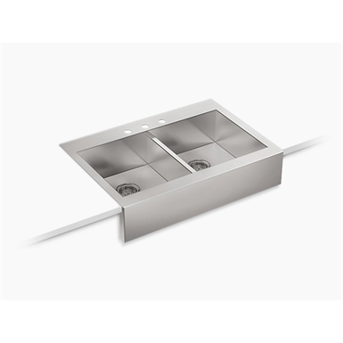 "vault™ 35-3/4"" x 24-5/16"" x 9-5/16"" self-trimming® top-mount double-equal stainless steel apron-front kitchen sink for 36"" cabinet"