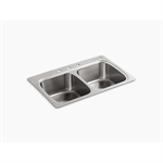 """verse™ 33"""" x 22"""" x 9-1/4"""" top-mount double-equal bowl kitchen sink with 4 faucet holes"""