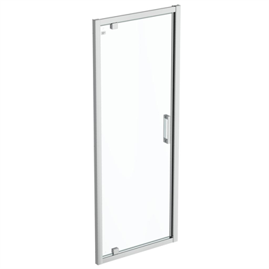 connect 2 pivot door 80 clear glass bright silver finish