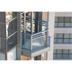 Aluminum Glass Railing, Glass Panel Rail With Top Rail, 2 Mid-Rails, And Bottom Rail, 1/4 in. Clear Tempered Glass