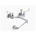 double wristblade lever handle service sink faucet with loose-key stops and spout with bottom wall brace