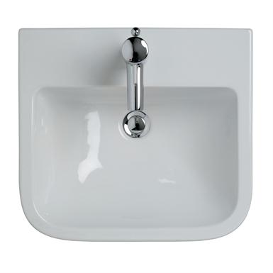 Create Square 50cm Semi-Countertop Washbasin, 1 Taphole